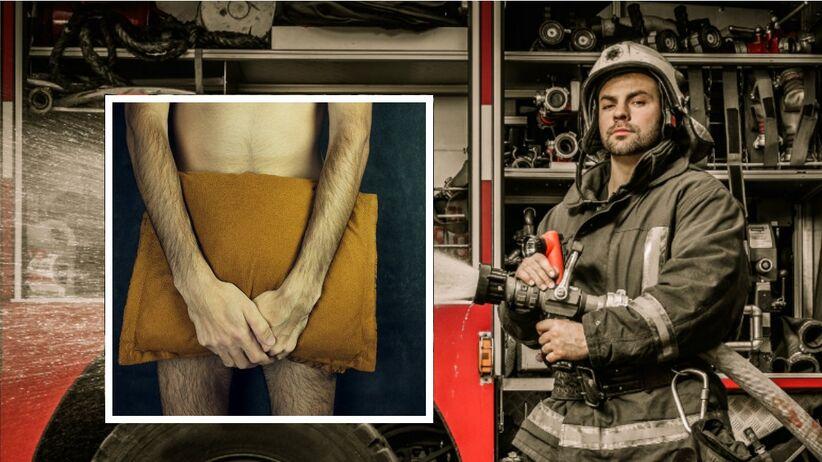 Strażak pomaga mężczyźnie