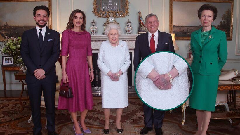 Królowa Elżbieta podczas wizyty króla Jordanii