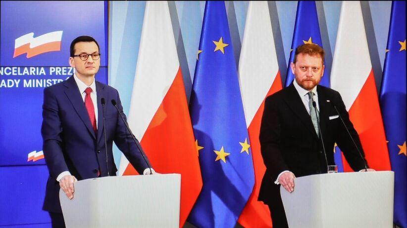 Premier Mateusz Morawiecki oraz minister zdrowia Łukasz Szumowski