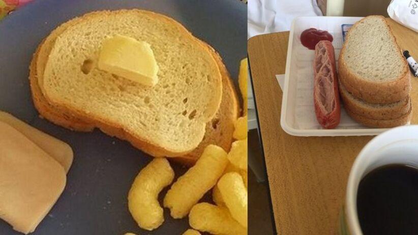 Jedzenie w szpitalach: wędlina, masłom biały chleb, parówki i chrupki