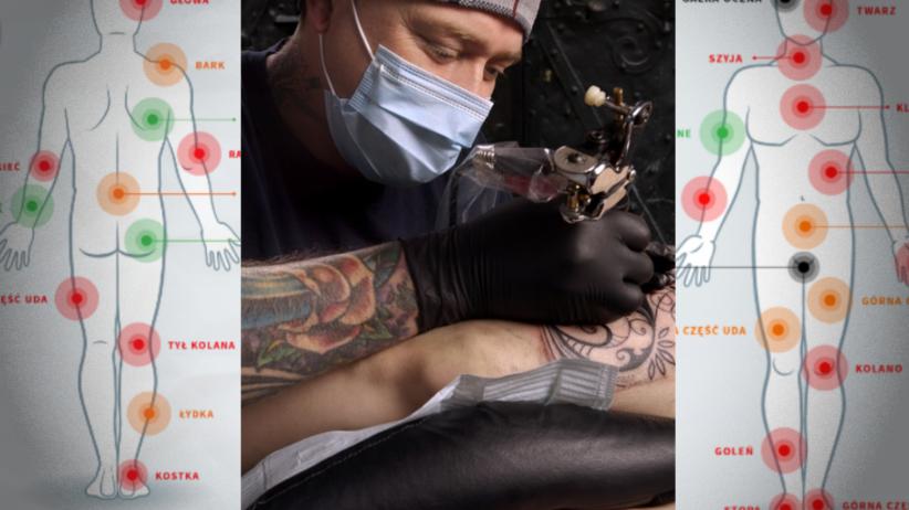 W którym miejscu na ciele tatuaże są najbardziej bolesne? Zobacz mapę!
