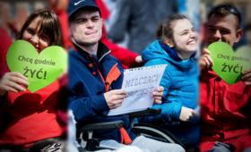 Białystok, protest niepełnosprawnych, list otwarty do Jarosława Kaczyńskiego od niepełnosprawnych