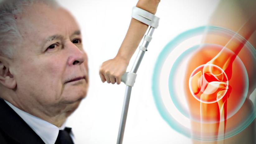 Operacja kolana, operacja stawu kolanowego, Jarosław Kaczyński, kule