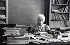 Albert Einstein przy biurku, Princeton University 1953